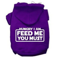 Mirage Pet Products Hungry I am Screen Print Pet Hoodies Purple Size Med (12)