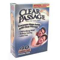 Clear passage Drug Free Tan Large Nasal Strips, 40 Count Boxes (Pack of 2)