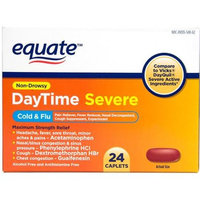 Equate Non-Drowsy DayTime Severe Cold & Flu Medicine Caplets, 24 count