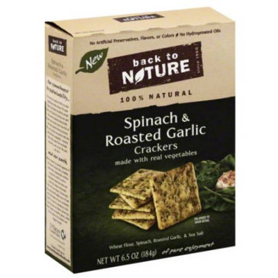 Back to Nature Spinach & Roasted Garlic Crackers, 6.5 oz, (Pack of 6)