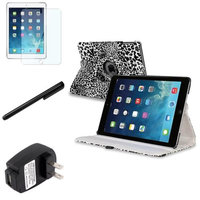 Insten INSTEN White/Black Leopard 360 Leather Case Cover+Guard Stylus For Apple iPad Air 5th