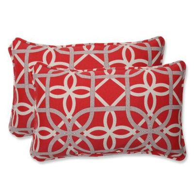 Pillow Perfect Outdoor 2-Piece Rectangular Throw Pillow Set - Red/Brown Keene