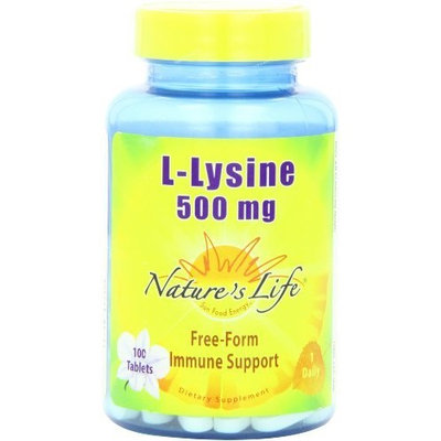 Nature's Life L-Lysine Tablets, 500 Mg, 100 Count (Pack of 2)
