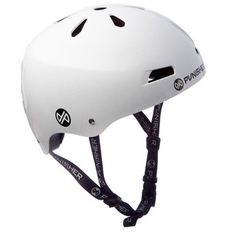 Punisher Skateboards 13-vent Bright Metallic White Youth BMX/ Skateboard Helmet