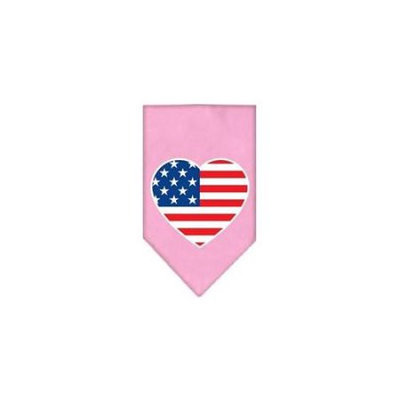 Ahi American Flag Heart Screen Print Bandana Light Pink Large