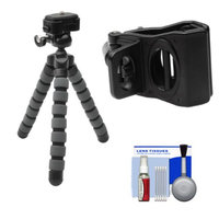 Precision Design PD-T14 Flexible Compact Camera Mini Tripod with Smartphone Adapter + Cleaning Kit for iPhone & Android Phones