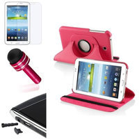 Insten INSTEN Rose Red 360 Leather Case+Matte Protector/Cap For Samsung Galaxy Tab 3 7.0 7inch P3200