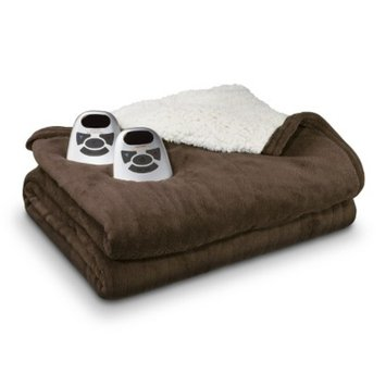 Biddeford Blankets Biddeford Microplush Sherpa Electric Electric Blanket - Brown (King)