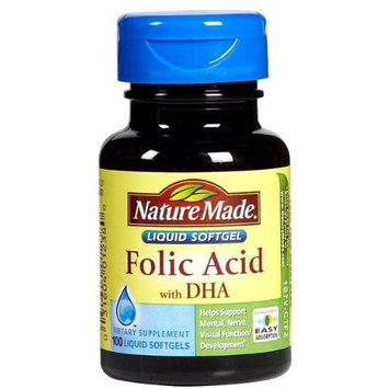 Nature Made Folic Acid 600 mcg with DHA Softgels, 100 ct