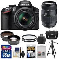 Nikon D3200 Digital SLR Camera & 18-55mm G VR DX AF-S Zoom Lens (Black) with 70-300mm Lens + 16GB Card + Case + Filters + Tripod + Telephoto & Wide-Angle Lens Kit