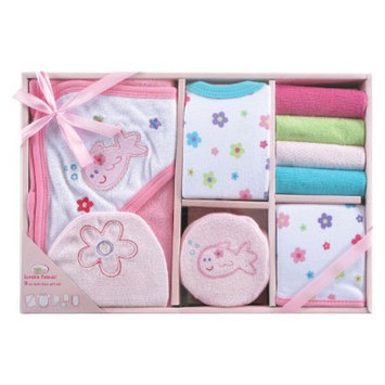 Luvable Friends Newborn Girls' 9 Piece Bath Time set - Pink 0-6 M
