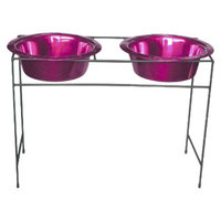 Platinum Pets Modern Double Dog Feeder with Two Stainless Steel Wide