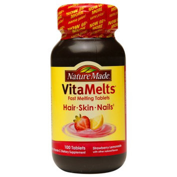 Nature Made VitaMelts Hair, Skin & Nails, Tablets, Strawberry Lemonade, 100 ea