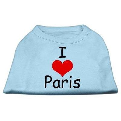 Mirage Pet Products 5137 SMBBL I Love Paris Screen Print Shirts Baby Blue Sm 10
