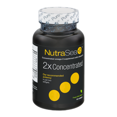 NutraSea+D Omega-3 Supplement 2X Concentrated Softgels Fresh Mint Flavor - 60 CT