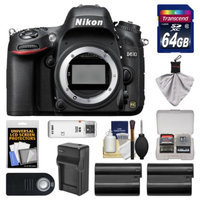 Nikon D610 Digital SLR Camera Body with 64GB Card + 2 Batteries & Charger + Remote + Accessory Kit