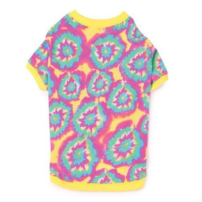 Casual Canine Polyester/Cotton Starburst Tie Dye Dog Pullover Tee, Small, 12-Inch, Yellow