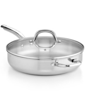 Martha Stewart Collection Stainless Steel 4 Qt. Covered Jumbo Saute Pan