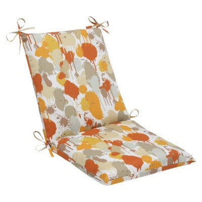 Pillow Perfect Outdoor Square Edge Chair Cushion - Orange/Tan Neddick