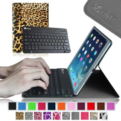 Fintie SmartShell Cover with Wireless Bluetooth Keyboard Case for Apple iPad Air / iPad 5, Leopard Brown