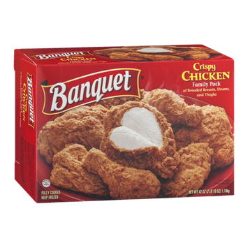 Banquet Crispy Chicken Family Pack with Breaded Breasts, Drums and Thighs