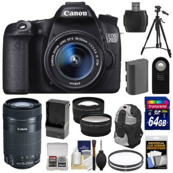 Canon EOS 70D Digital SLR Camera & EF-S 18-55mm IS with 55-250mm IS STM Lens + 64GB Card + Battery & Charger + Backpack + Filters + Tripod + Tele/Wide Lens Kit