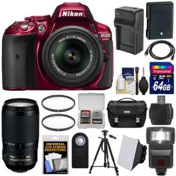 Nikon D5300 Digital SLR Camera & 18-55mm VR II Lens (Red) with 70-300mm VR Lens + 64GB Card + Battery & Charger + Case + Flash + Tripod + Kit