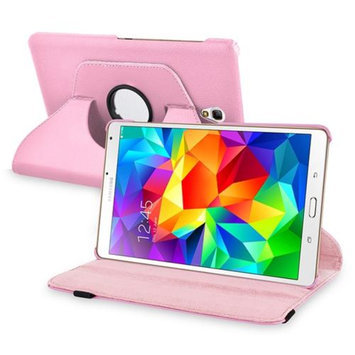 Insten INSTEN Pink Flip Leather Case Cover 360 Degree Rotating Stand For Samsung Galaxy Tab S 8.4 inch Tablet T700
