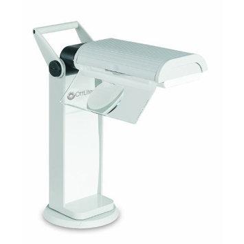 Ott Lite OttLite OTL13MAG Task Lamp with Swivel Base and Flip-Down Magnifier, Dove Grey