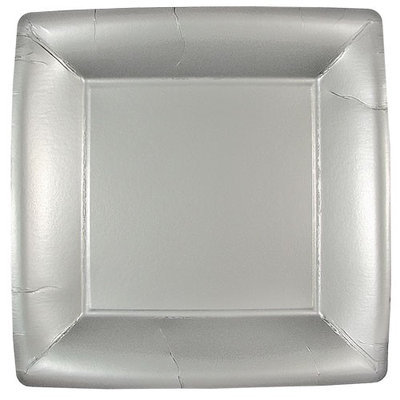 King Zak Ind Lillian Tablesettings 21815 Silver Solid 10 in. Square Plate - 576 Per Case