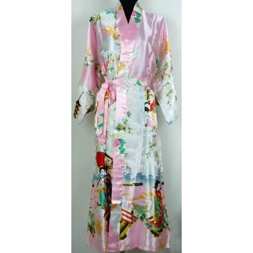 Shanghai Tone® Geisha Kimono Robe Sleepwear Gown Pink One Size