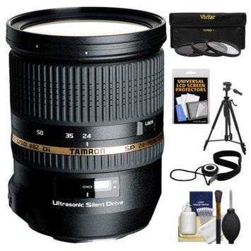 Tamron 24-70mm f/2.8 Di USD SP Zoom Lens with Tripod + 3 (UV/ND8/CPL) Filters + Accessory Kit for Sony Alpha DSLR SLT-A37, A55, A57, A65, A77, A99 Digital SLR Cameras