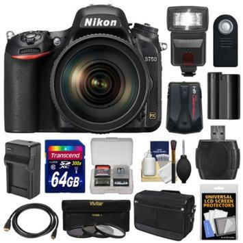 Nikon D750 Digital SLR Camera & 24-120mm f/4 VR Lens with 64GB Card + Battery & Charger + Messenger Bag + GPS Unit + Filters + Flash + Kit