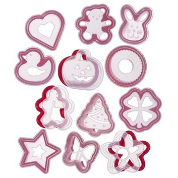Progressive International Bakers Red and Clear Cookie Cutter and Attachable Stencils
