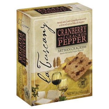 La Tuscany 5.5 oz. Cranberry And Cracked Pepper Artisan Crackers Case Of 15