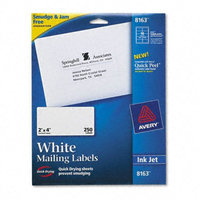 Avery White Ink Jet Mailing Labels, 2 x 4, 250/Pack