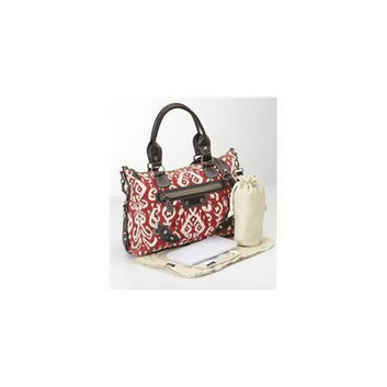 OiOi Baby Bags 6448 11. 5''H x 15. 5''W x 6''D Pompeian Ikat Tote Bag - Red