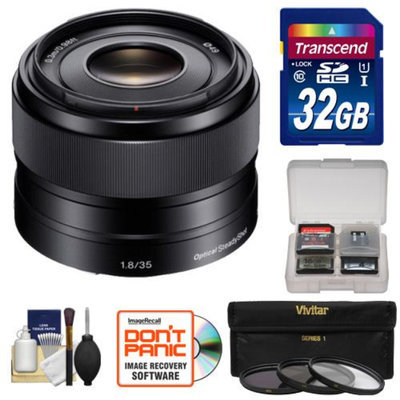 Sony Alpha E-Mount 35mm f/1.8 OSS Lens with 32GB Card + Case + 3 Filters + Kit for A7, A7R, A7S, A3000, A5000, A5100, A6000 Cameras