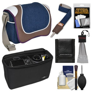 Aerystar Hagerstown Digital SLR Camera Messenger Bag with Insert Bag + Camera Strap + Cleaning & Accessory Kit