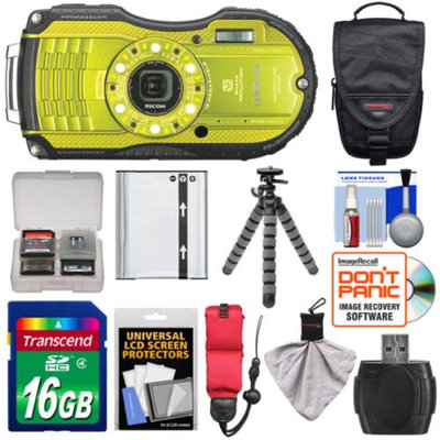 Ricoh WG-4 Shock & Waterproof Digital Camera (Lime Yellow) with 16GB Card + Battery + Case + Floating Strap + Flex Tripod + Accessory Kit