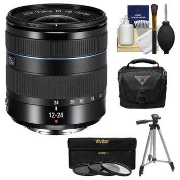 Samsung 12-24mm f/4-5.6 NX ED Wide Angle Zoom Lens (Black) with Case + Tripod + 3 Filters + Kit for Galaxy NX, NX30, NX210, NX300, NX2000, NX3000 Cameras