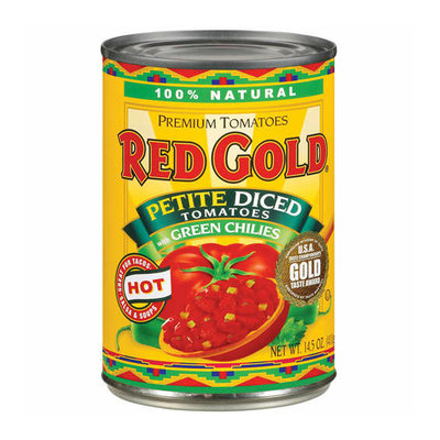 Red Gold Diced Hot Petite English Label Tomatoes With Green Chilies
