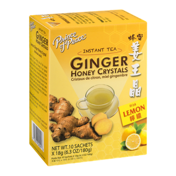 Prince of Peace Ginger Honey Crystals with Lemon Instant Tea Sachets - 10 CT