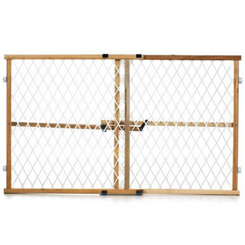Evenflo G202 Position And Lock Gate - Clear Wood - White Mesh
