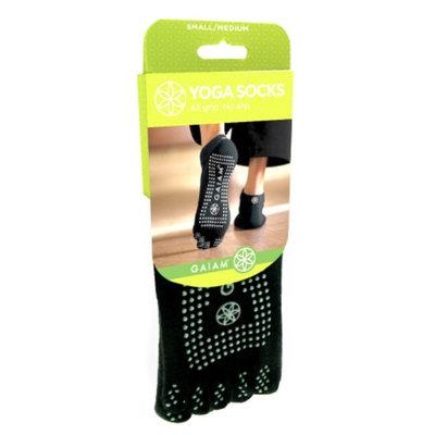 Gaiam Grippy Yoga Socks, Black/Gray, Small/Medium, 1 ea