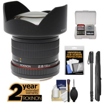 Rokinon 14mm f/2.8 Aspherical Wide Angle Lens with 2 Year Ext. Warranty + Monopod Kit for Sony Alpha SLT-A37, A57, A58, A65, A77 II, A99 DSLR Camera