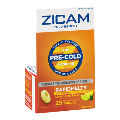 Zicam Cold Remedy Rapidmelts with Echinacea Quick Dissolve Tablets Lemon-Lime Flavor - 25 CT