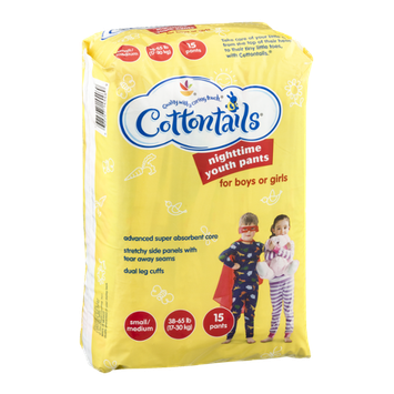Cottontails Nighttime Youth Pants For Boys Or Girls Small/Medium 38-65 lb - 15 CT