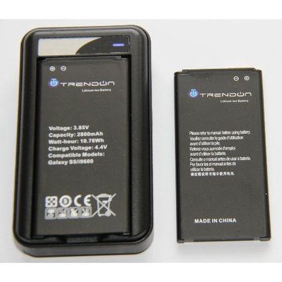 [2 Batteries + Charger] TrendON Samsung Galaxy S5 2 X 2800 mAh [Long Lasting] Spare Replacement Li-ion Battery Combo with Portable USB Travel Wall Charger (Non-NFC) [18-Month Warranty] (2 Batteries 1 Charger)