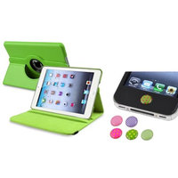 Insten iPad Mini 3/2/1 Case, by INSTEN Green 360 Leather Case Cover+Home Sticker for iPad Mini 3 2 1